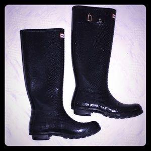 Hunter Wellies Rain Boots Black Snakeskin 7M/8F